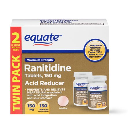 Equate Ranitidine Acid Reducer Tablets, Maximum Strength, 130 Count