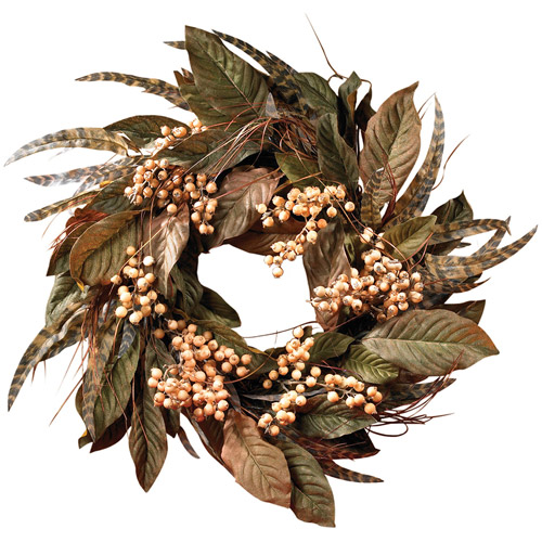 "24"" Feather and Berry Wreath"