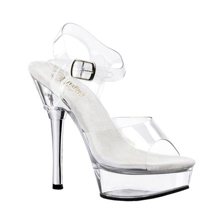 Chic 4 1/2 Inch Stiletto Heel - 5 1/2 Inch Sexy Women's Fashion Shoes Stiletto Heel Platform Sandal Clear