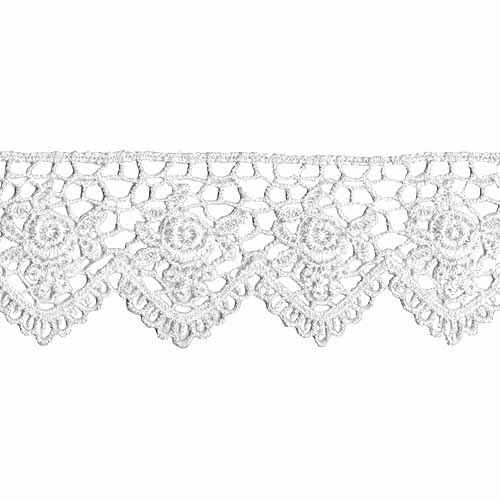 "Wrights Venice Lace Scallop Edge Rose, 1-1/2"" x 10 yds, White"
