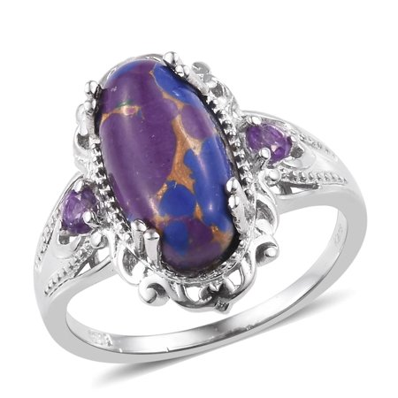 Amethyst Tanzanite Ring - Statement Ring Purple Turquoise Amethyst Gift Jewelry for Women Size 8
