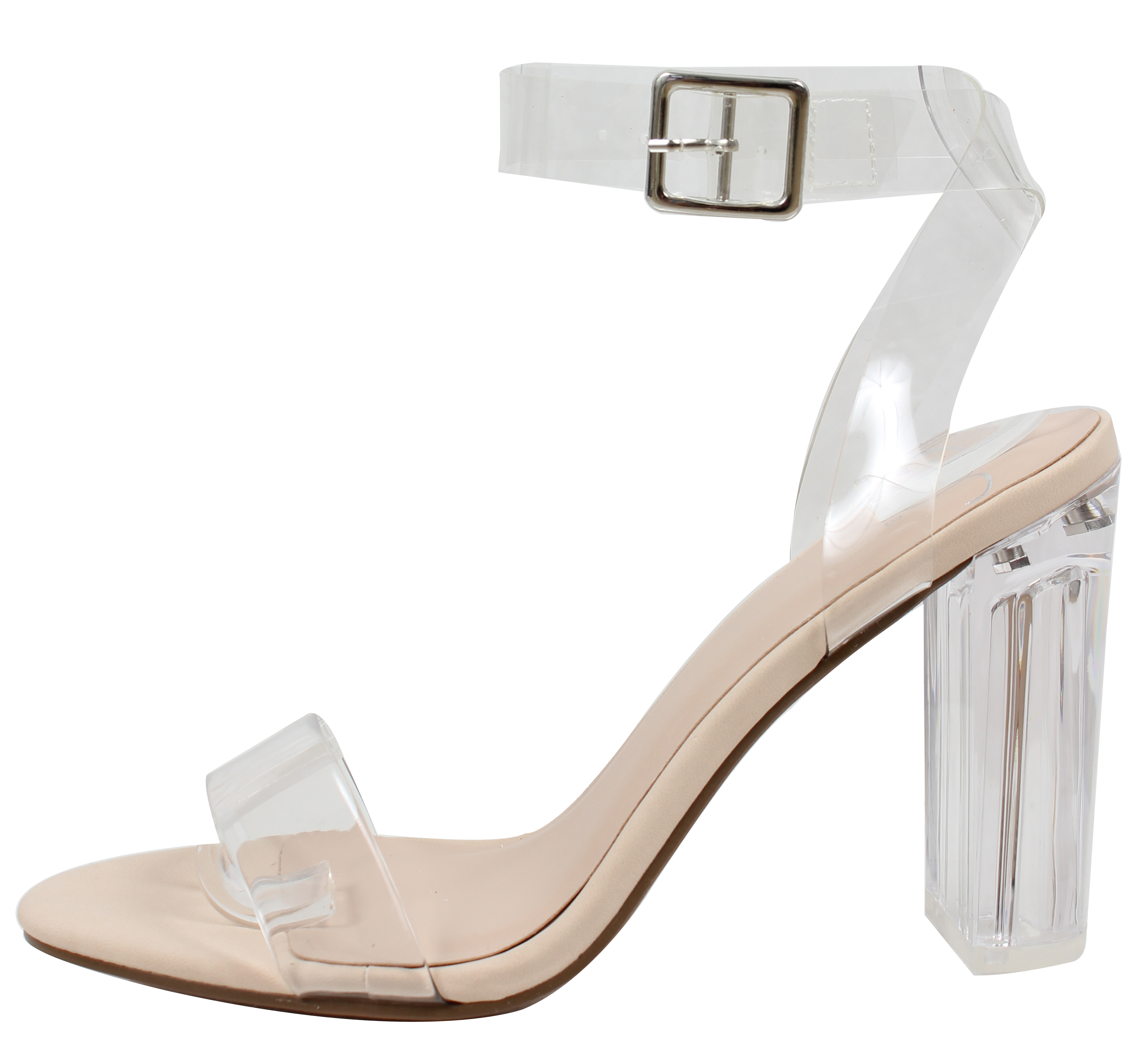3c851f72671 Delicious - Delicious Women s Cinderella Clear Ankle Straps Perspex Lucite  Clear Block Heel Sandal (Black