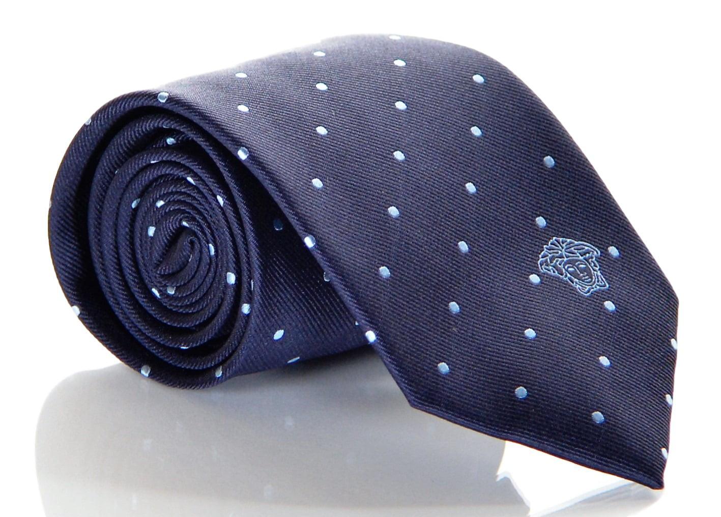 VERSACE Black /& Blue Tile Silk Tie