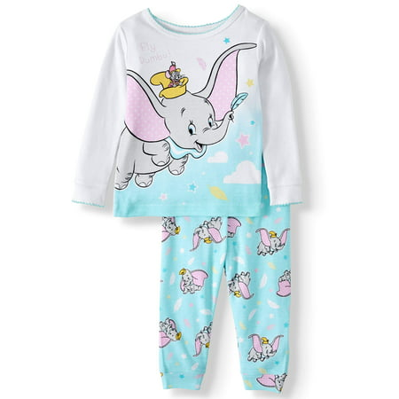 Dumbo Baby Girl Long Sleeve Cotton Snug Fit Pajamas, 2-piece set Baby Girls Long Sleeved Pajamas
