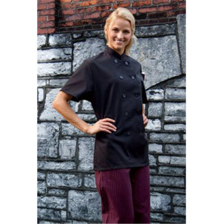 Uncommon Threads 0478-0101 Extra Small Tahoe Ladies Short Sleeve Chef Coat in Black