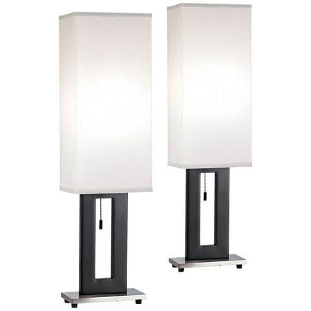360 Lighting Modern Table Lamps Set of 2 Black Rectangular Floating ...
