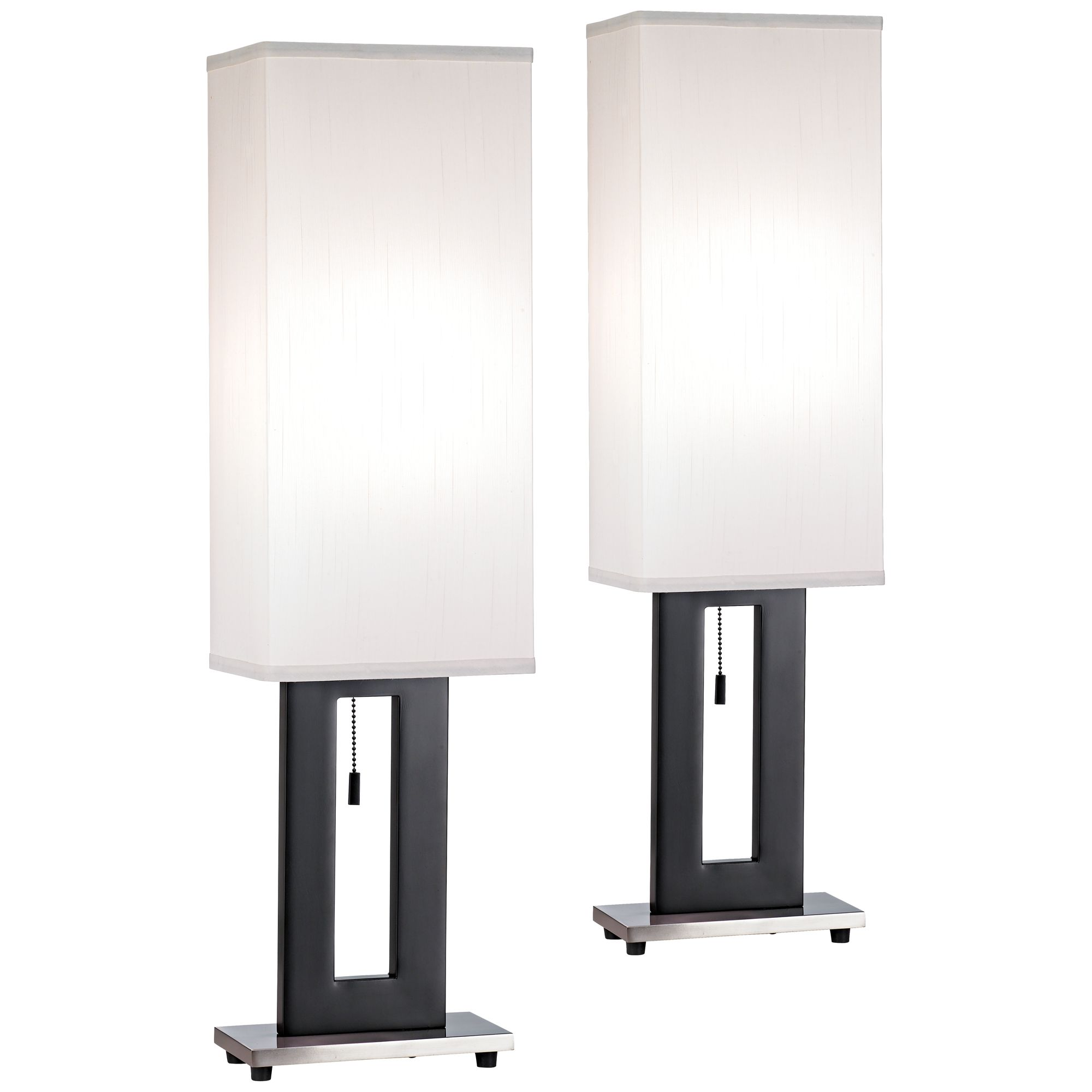 360 Lighting Modern Table Lamps Set Of 2 Black Rectangular Floating Box  Shade For Living Room Family Bedroom Bedside Nightstand   Walmart.com
