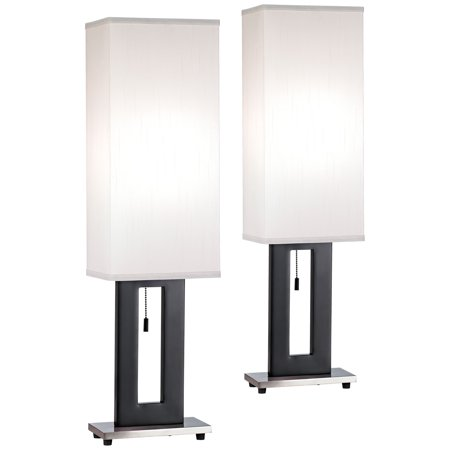 360 Lighting Modern Table Lamps Set of 2 Black Rectangular ...