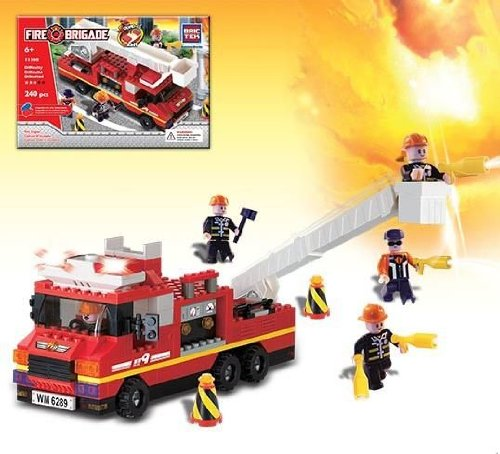Fire Engine with Sound & Lights - Building Set by Brictek (11308) Multi-Colored