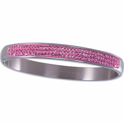 """Light Rose Crystal Stainless Steel Hinged Bangle, 7.5"""""""