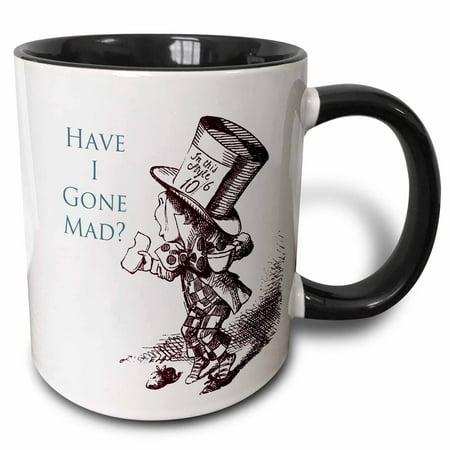 Alice In Wonderland Gifts (3dRose Mad Hatter Have I gone Mad Alice in Wonderland, Two Tone Black Mug,)