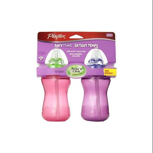 Playtex Baby Lil' Gripper Twist 'n Click 9 Ounce Straw Cup, 2 Count - Blue/Green