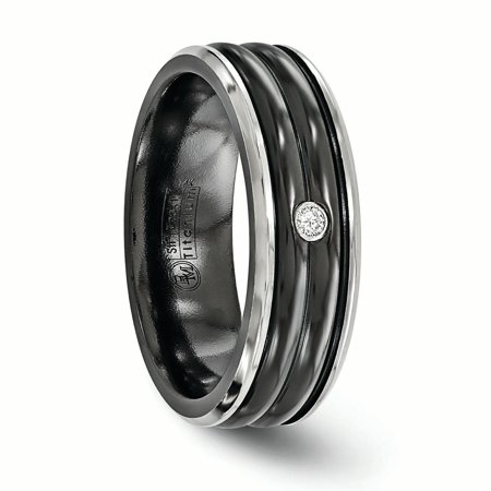 Edward Mirell Black Titanium .03ct Diamond 925 Sterling Silver Bezel 7mm Wedding Ring Band Size 9.00 Man Fine Jewelry Gift For Dad Mens For Him - image 6 of 11