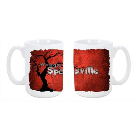Welcome to Spooksville Halloween Dishwasher Safe Microwavable Ceramic Coffee Mug 15 oz. - Safe Space Yale Halloween