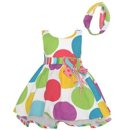 Baby Girls Multi Color Polka Dots Balloon Birthday Dress (Bonnie Baby Large Dots Birthday Dress With Headband)
