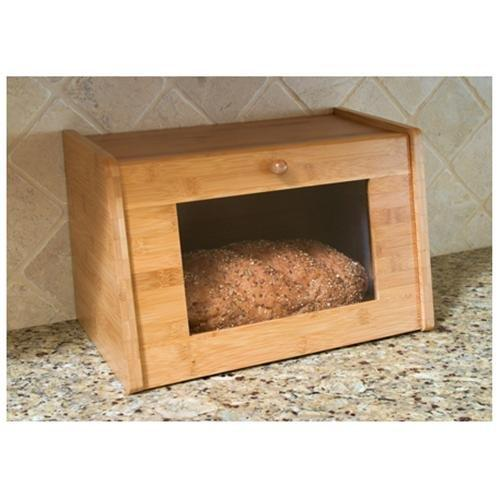 Lipper Bamboo Bread Box With Tempered Glass Window - Bread Box - Bamboo, Glass Window - 1 Piece[s] (8847)