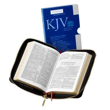 Holy Bible: King James Version, Black French Morocco Leather with Zip Fastener by