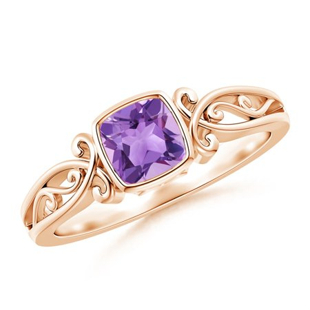 February Birthstone Ring - Vintage Style Cushion Amethyst Solitaire Ring in 14K Rose Gold (5mm Amethyst) - SR0566AM-RG-A-5-7 ()