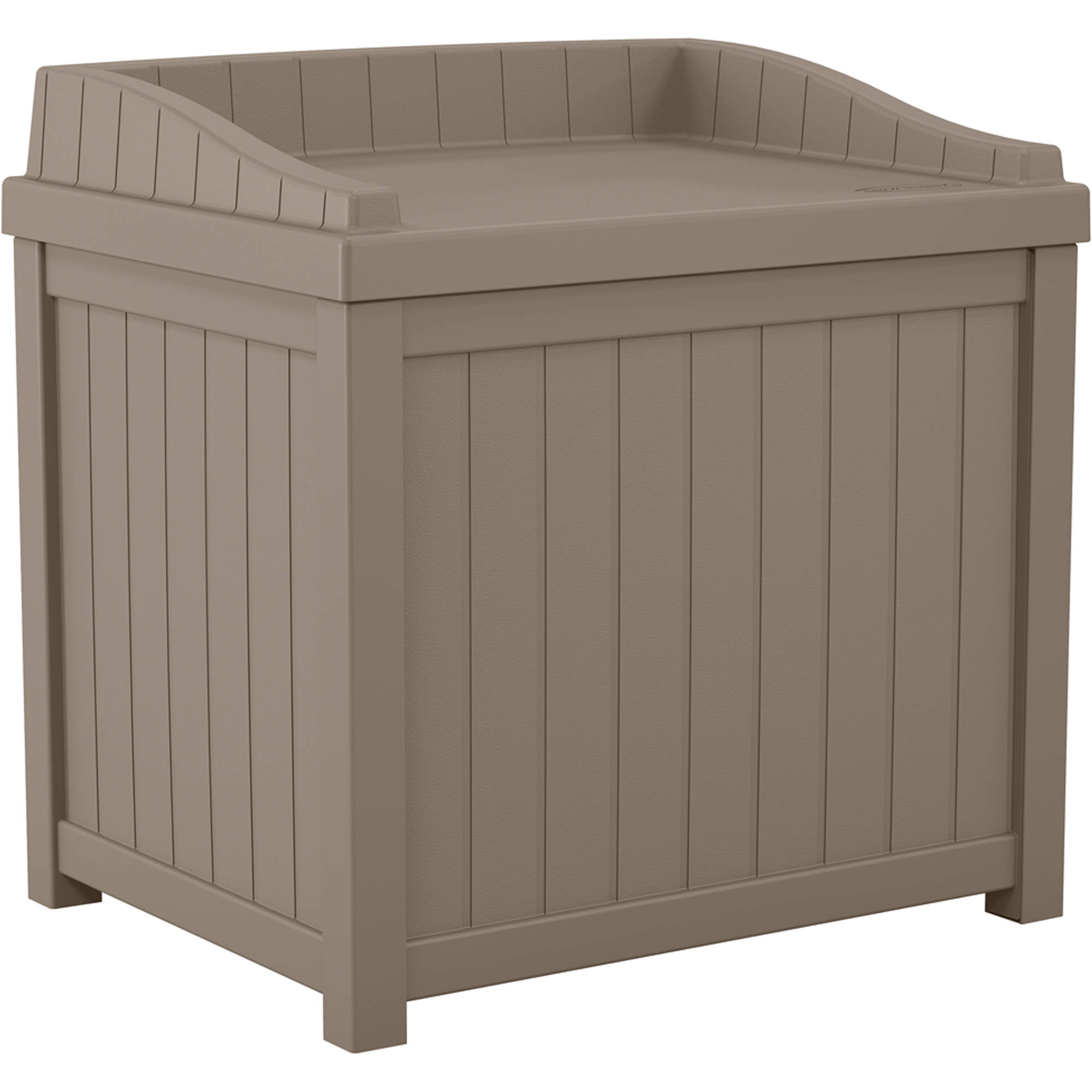 Suncast 22 Gallon Dark Taupe Small Storage Seat Deck Box SS1000DTD