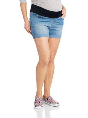 Oh! Mamma Maternity Underbelly Roll-Cuff Denim Shorts - Available in Plus Sizes