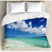 Ocean Queen Size Duvet Cover Set, Island Sea Life Wavy Bright Open Sunny Sea Shore Sand Beach Art Print Image, Decorative 3 Piece Bedding Set with 2 Pillow Shams, Bue Teal Cream White, by Ambesonne