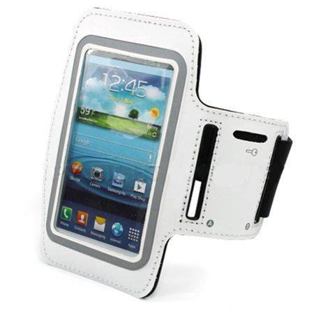 White Armband Sports Gym Workout Cover Case Running Arm Strap Band W1V for Samsung Galaxy S6 Active Player 5.0 Note 3, J7, Halo Grand 2 A7 (SM-A700FD) - Sony Xperia Z1 T3 L1 - Xiaomi Mi Mix