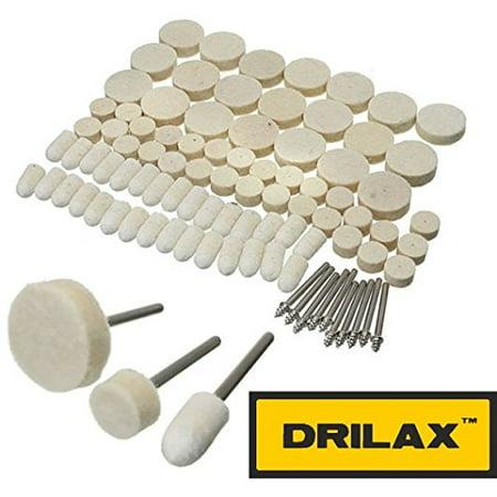 DRILAX 88 Pcs Felt Polishing Pad and Wheel - Point and Mandrel Kit For Dremel Rotary (Wheel Mandrel)