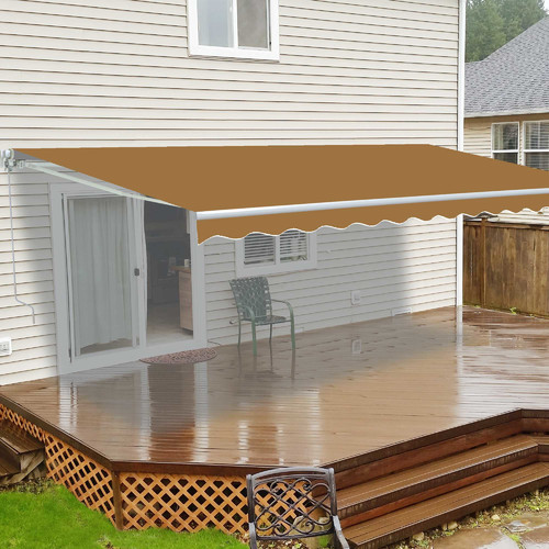 ALEKO Retractable 10' x 8' (3m x 2.5m) Patio Awning, Solid Sand