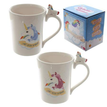 Unicorn Merchandise (Unicorn - 2 Piece Ceramic Coffee Mug / Cup (Shaped Mugs - Blue &)