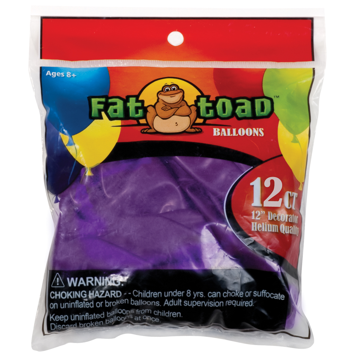 "Fat Toad Balloons Round 12"" 12/Pkg-Deep Purple"