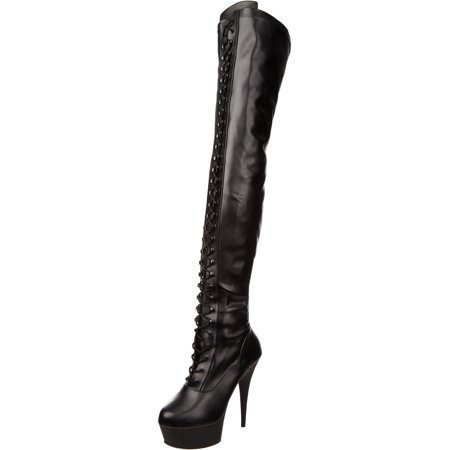 6 Inch Sexy Stretch Thigh Hi Boot Platform High Heel Boot Side Zip Black (Side Zip Stretch Platforms)