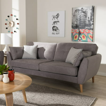 Baxton Studio Miranda Mid-Century Modern Light Grey Fabric Upholstered Sofa