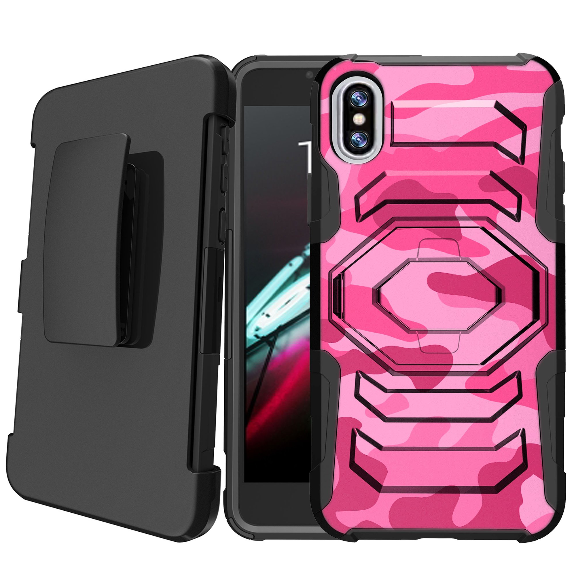 Apple iPhone X 2017 | iPhone 10 Holster Case [Camo Case][Camouflage Design Series] w/ Built-In Kickstand + Bonus Holster - Pink Camo