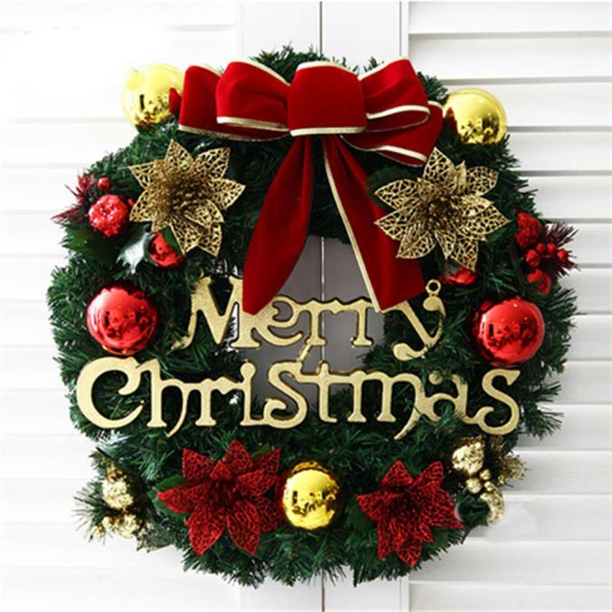 Merry Christmas Party Poinsettia Pine Wreath Door Wall Garland Decoration