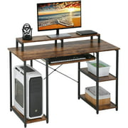 Computer Desk, 46 Inches Home Office Desk PC Gaming Desk Writing Study Desk Computer Workstation with Monitor Shelf/Bookshelves/CPU Stand, Vintage