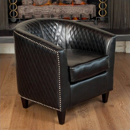Trent Home Leather Lounge Barrel Chair in Black ()