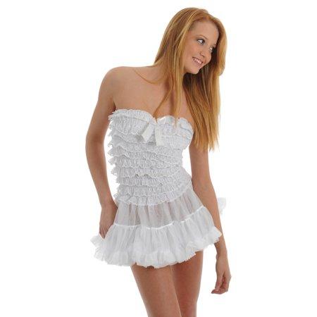 Womens White Chemise Ruffle G-String Panty 2 Piece Bridal Lingerie Set