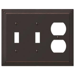 Step Design Double Toggle and Duplex Combination Wall Switch Plate Outlet Cover - Oil Rubbed Bronze