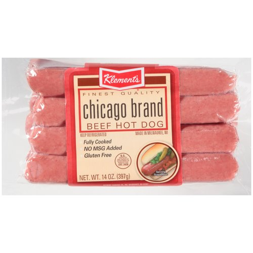 Klement's Beef Hot Dogs, 14 oz