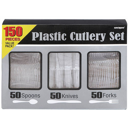 Assorted Plastic Silverware for 50, Clear, 150pc by Unique Industries
