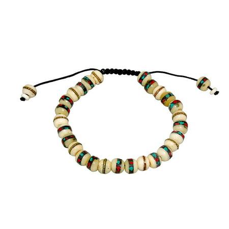 Tibetan Mala White Yak Bone Embedded Medicine Wrist Mala (Wrist Mala Bracelet)