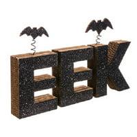 "Allstate Floral 12.5"" Glittered Bat ""EEK"" Halloween Decoration - Black"
