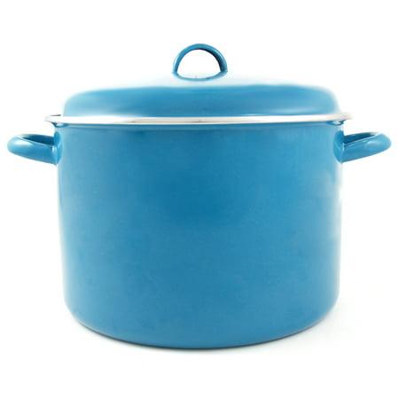 Cinsa Medium Gauge Teal Azul Enameled Steel Stock Pot, 9.25 Quart ()