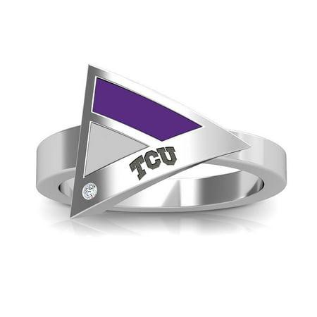 Geometric Purple Ring (Texas Christian University - Tcu Engraved Diamond Geometric Ring In Purple And Grey)