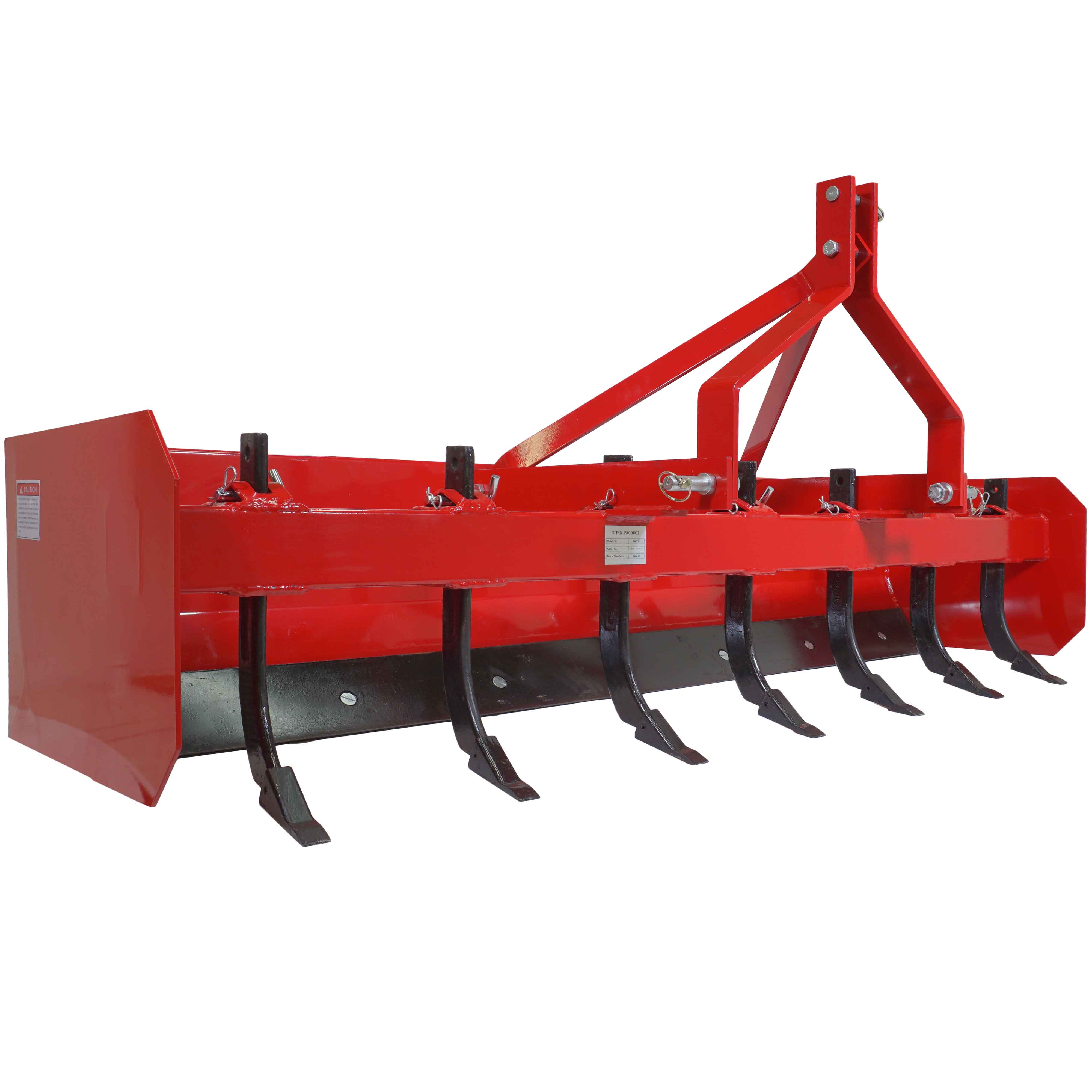 Titan 7' Box Blade Tractor Attachment Category 1 Cat 0 Scarifier Shank Teeth