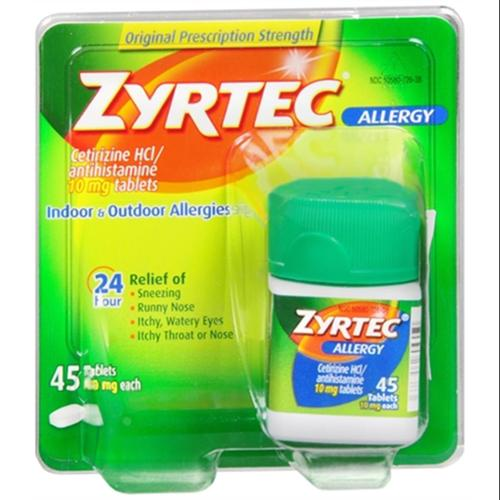 Zyrtec Allergy 10 mg Tablets 45 Tablets (Pack of 3)
