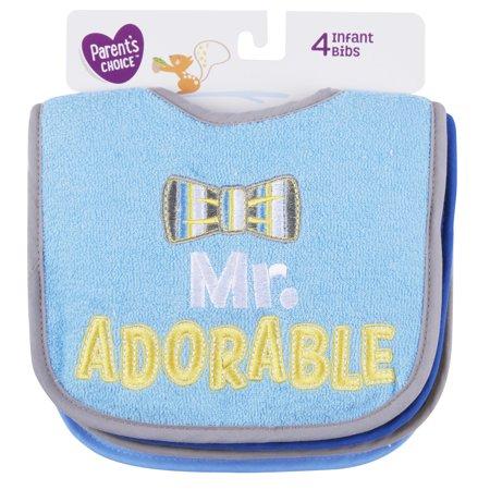 Parents Choice Infant Boys Bibs, 4 count, Attitude
