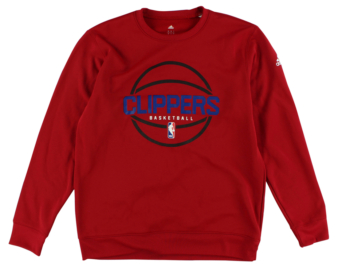Adidas Mens Los Angeles Clippers New Ball Crew Sweatshirt Red by