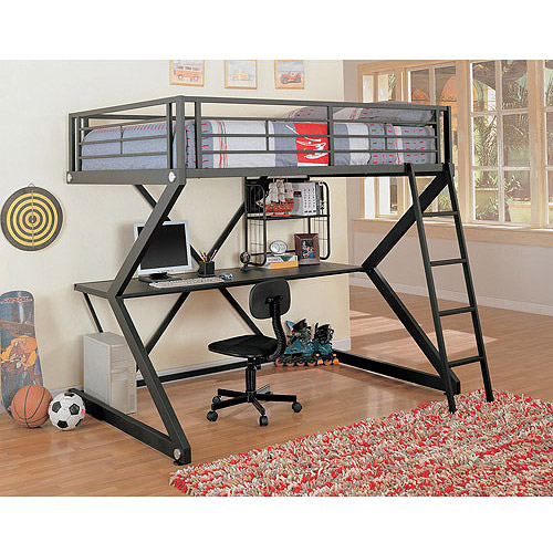 Coaster Full-Over-Workstation Loft Bed, Black