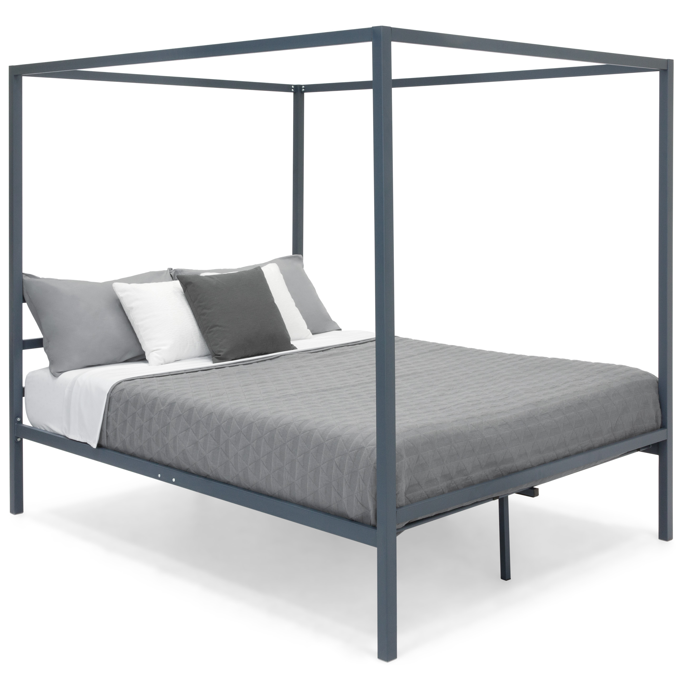 Best Choice Products Industrial 4 Corner Post Steel Canopy Queen Platform Bed Frame w/ Headboard, Metal Slats - Gray